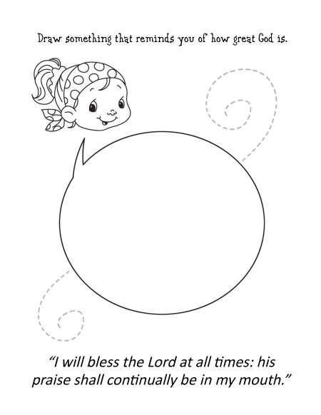 Psalm 34 Coloring and Activity Book for children